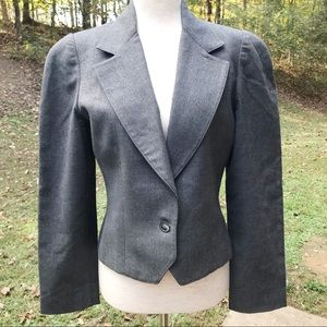 Dior Gray Structured Single Button Blazer Size 8
